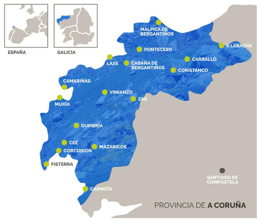 mapa 17 concellos GDR Costa da Morte Galicia